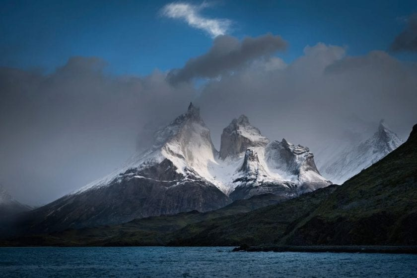 View of Cuernos del Paine from Lago Pehoe in national park Torres del Paine