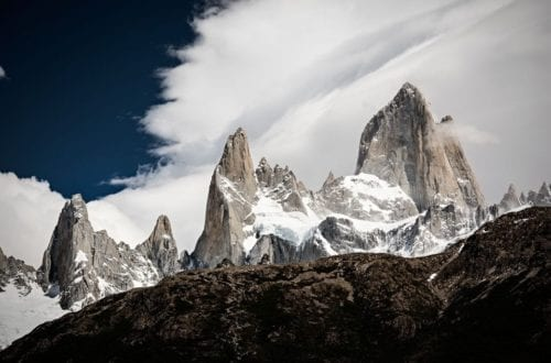Close-up view of Mt. Fitz Roy in Los Glaciares national park in Patagonia