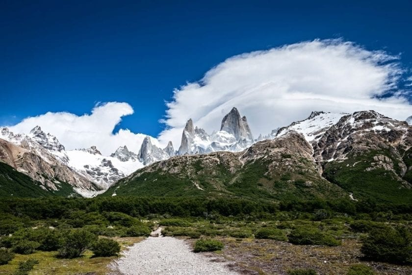 View of a hiking trail with Mt. Fitz Roy in the background in national park Los Glaciares in Patagonia