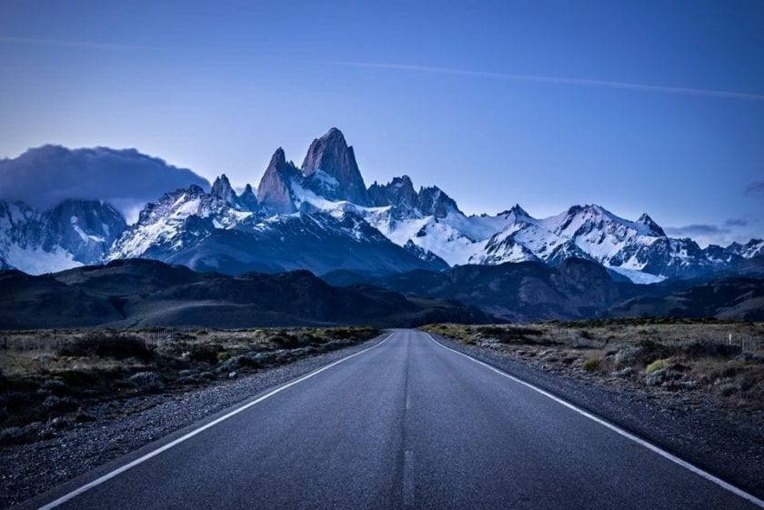 Road to El Chalten with Mt. Fitz roy in the background