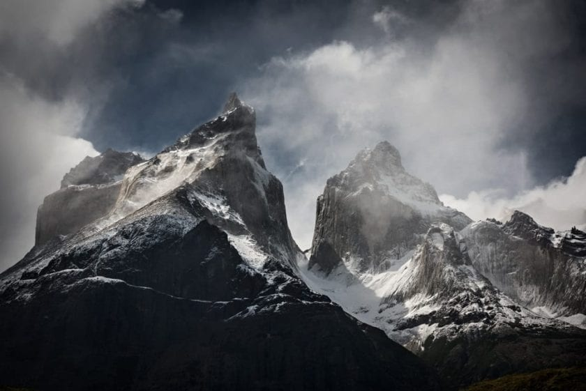 Close-up view of Cuernos del Paine in Torres del Paine national park in Chilean Patagonia.