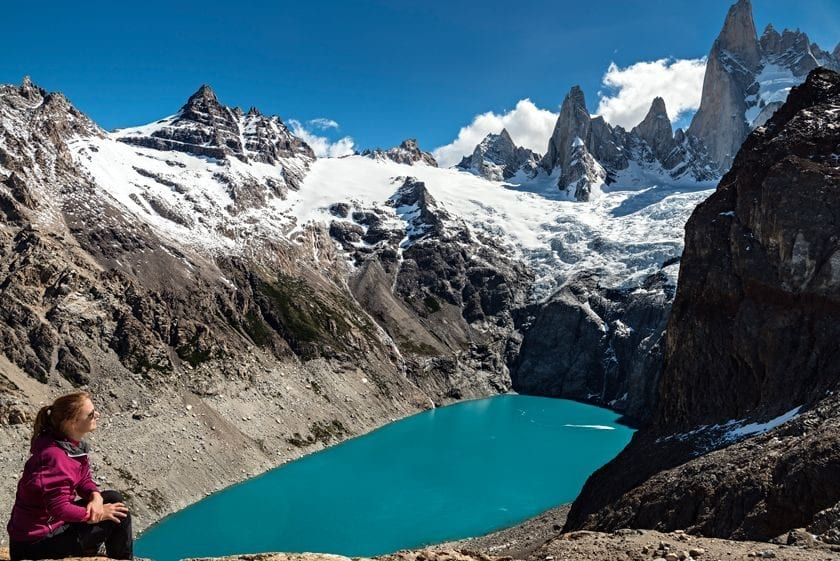A view of a person contemplating beautiful views in national park Los Glaciares in Argentina.