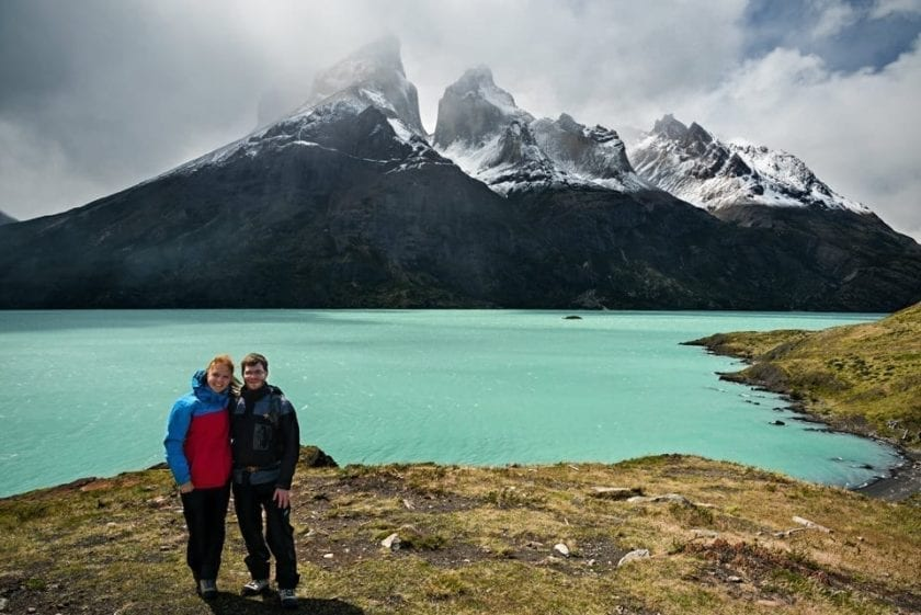 View from Mirador Cuernos in Torres del Paine national park in Patagonia.
