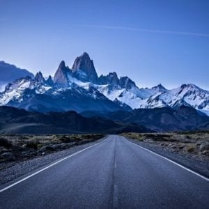 View of Mt. Fitz Roy from El chalten in Argentinian Patagonia