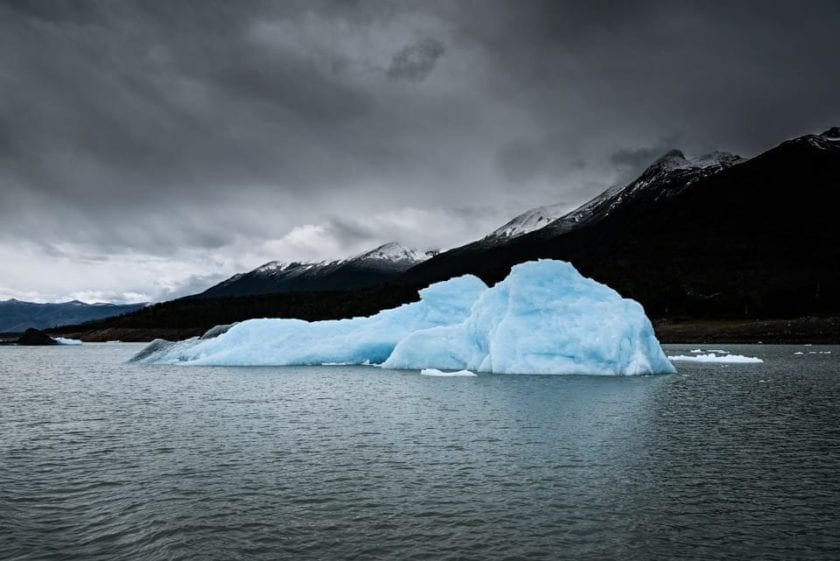 A view of a floating iceberg on Lago Argentino, detached from Perito Moreno glacier in Argentina.