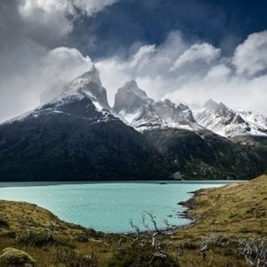 View of Cuernos del Paine from Lago Nordenskjold in Torres del Paine national park