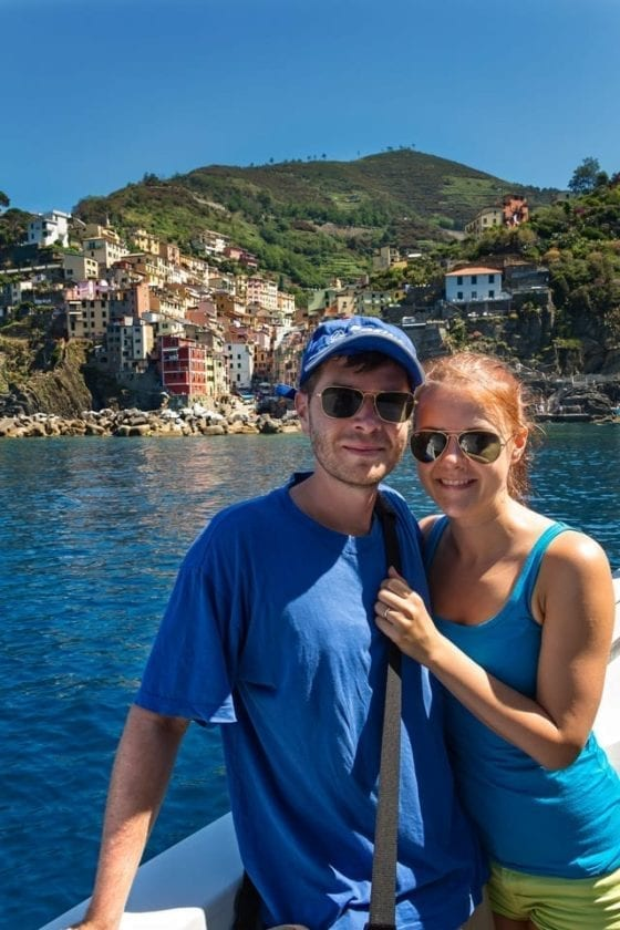 View of a couple on a boat in Cinque Terre, Italy