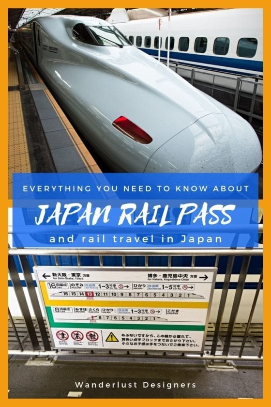Japanese Shinkansen and a sign in a train station