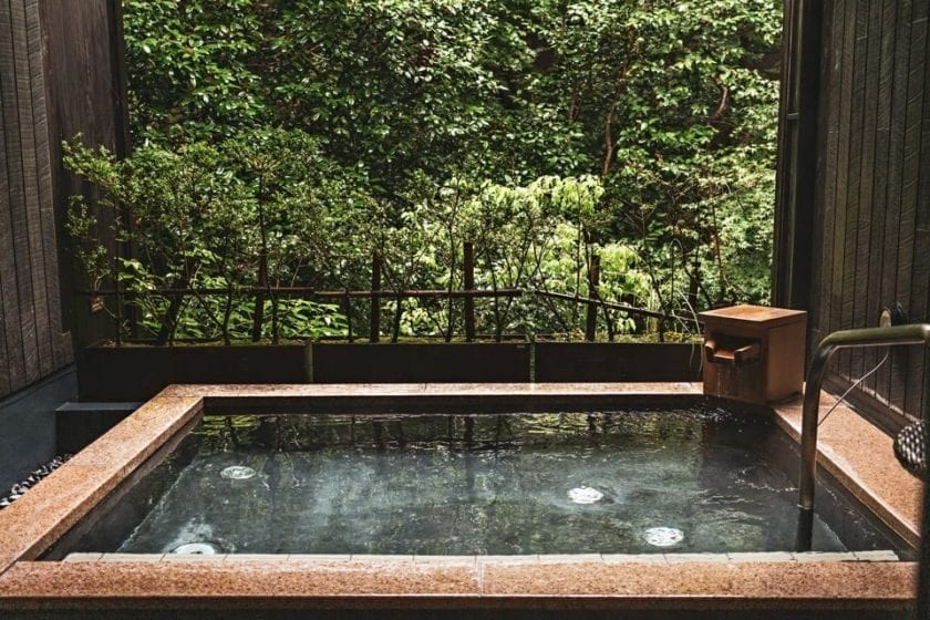 View of a traditional Japanese hot tub (onsen).