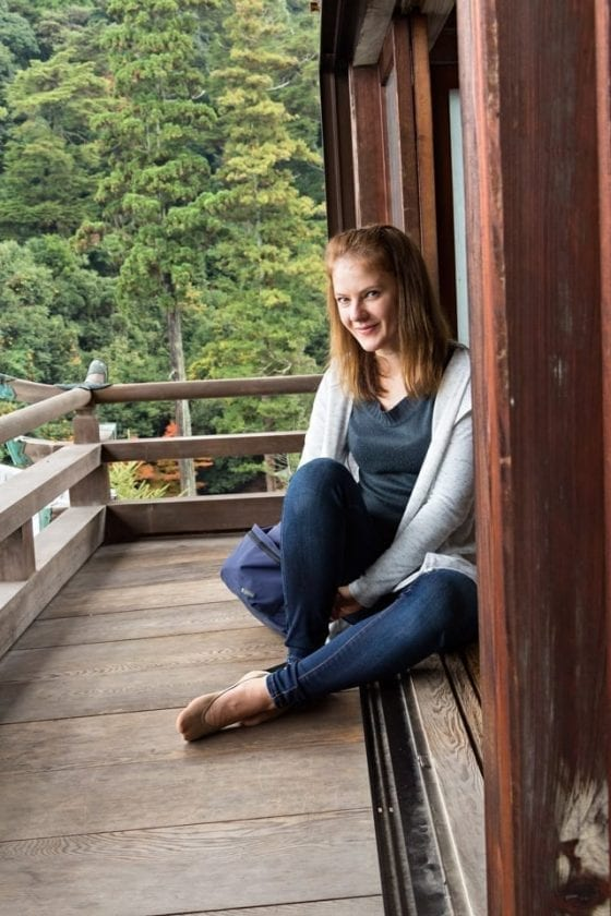 Picture of a young lady captured in a temple on Miyajima island.