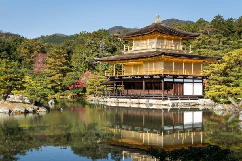 View of Kinkaku-ji temple in Kyoto, one of the iconic sights in Japan and a perfect object for photography.