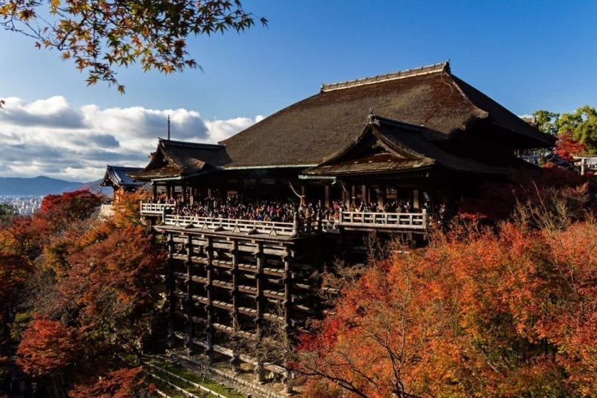 View of Kiyomizu-dera temple in Kyoto with its 13-metre-tall wooden stage supporting the front facade. Kiyomizu-dera is one of Kyoto's top attractions and a popular objects for photography for all the visitors to Japan.