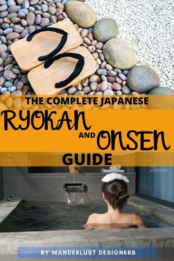 an image for pinterest with a woman in a traditional japanese onsen and wooden slippers on rocky surface
