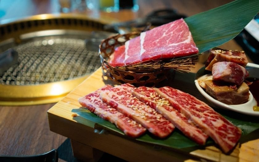 A picture of yakiniku - Japanese beef going to be prepared on the griddle.