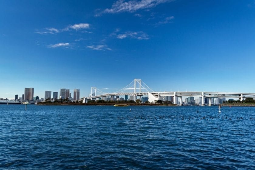 A view of Rainbow Bridge in Tokyo from Odaiba.