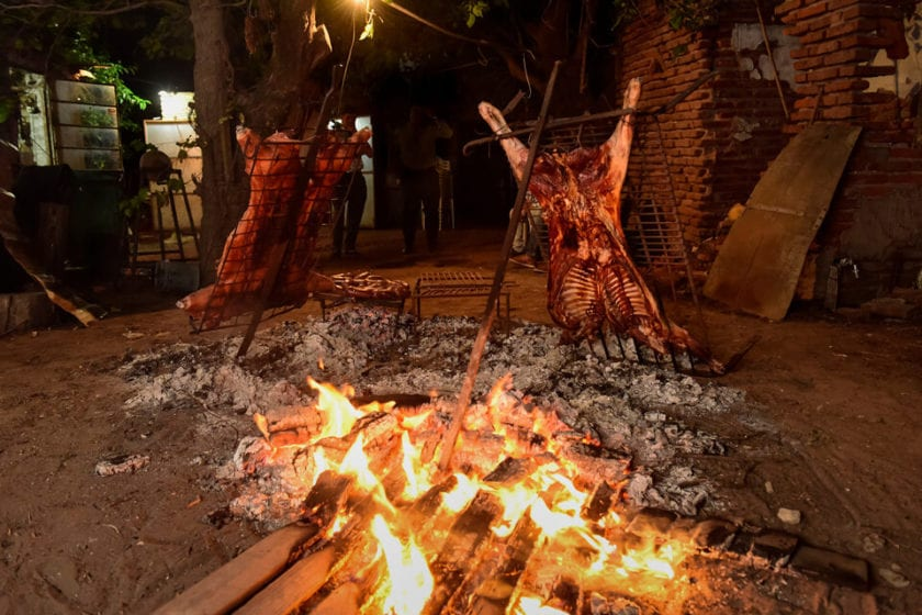 cordero al palo or spit roast lamb - one of the most traditional food in Patagonia
