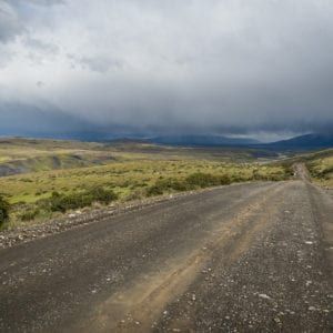 A gravel road in Torres del Paine national park in Chilean Patagonia