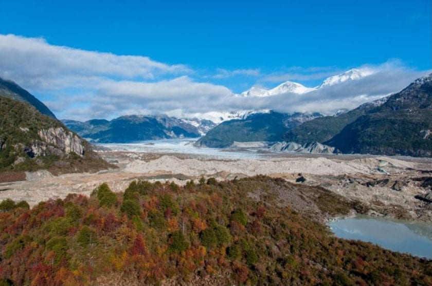 View of the glacier Exploradores from a viewpoint