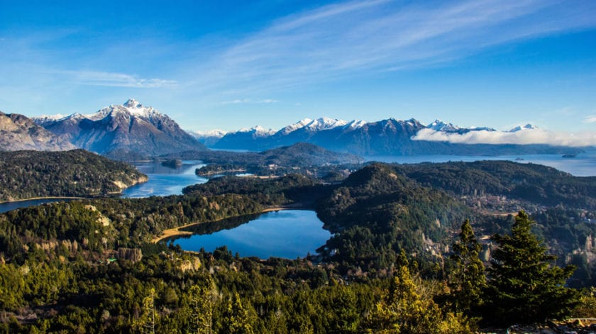 View from a Cerro Campanario in Patagonia