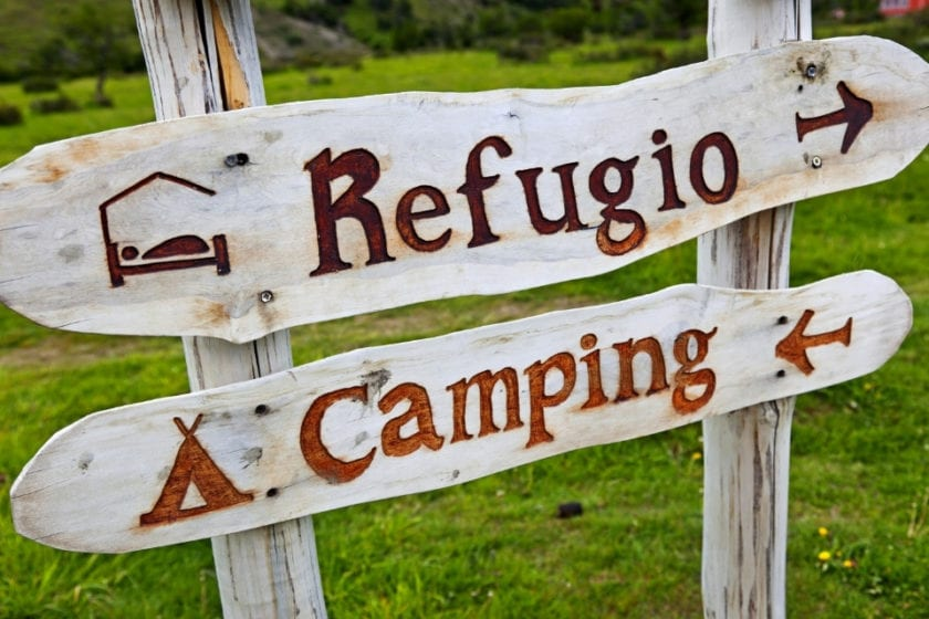 sign of refugio and camping in torres del paine