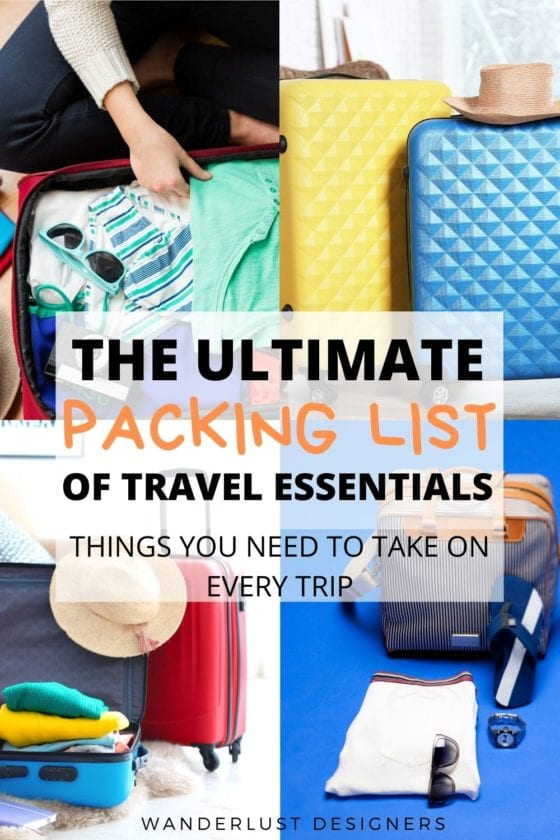 Packing list for vacation | Check out this ultimate travel essentials packing list of things you need on every vacation! From what documents to pack to what to have in your travel first aid kit, this packing list will help you remember what to pack on your vacation! | what to pack | travel packing essentials | packing checklist | things to pack for a trip | odd packing essentials | pack list | top things to pack for travel | #packinglist #travelessentialslist #travelessentials #travelessential #traveltips
