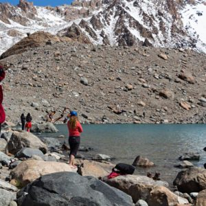 swimming in laguna de los tres - don't forget to pack your swismsuit to patagonia!
